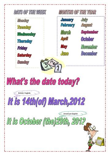 Названия месяцев и дней недели (американский и британский варианты)