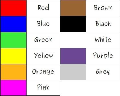 Цвета по-английски (таблица)