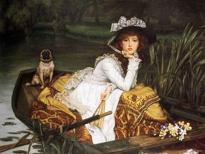 Изображение девушки в лодке и собаки