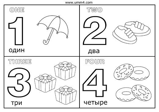 Пример карточек с цифрами