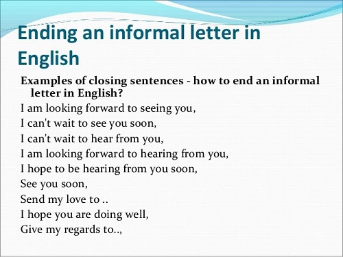 Ending an informal letter in English