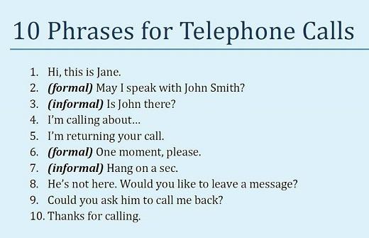Телефонные фразы
